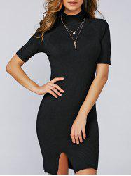 Slit Pencil Short Sleeve Turtleneck Jumper Dress