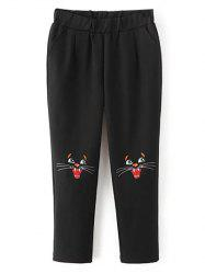 Cat Face Embroidered Elastic Waist Pants -