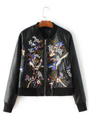 Bird Embroidered Faux Leather Bomber Jacket -