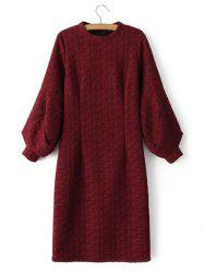 Cable Knitted Lantern Sleeve Slimming Jumper Dress - WINE RED