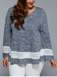 Plus Size Lace Insert Flare Sleeve Blouse