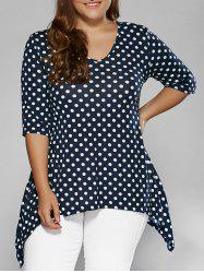 Plus Size Polka Dot Asymmetrical Blouse