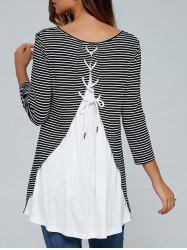 Striped Lace Up Blouse - STRIPE M