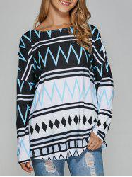 Drop Shoulder Zigzag Blouse -