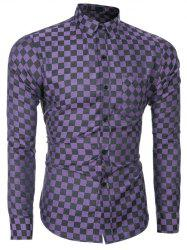 Button Up Long Sleeve Grid Pattern Shirt