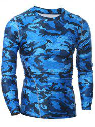 Quick Dry Round Neck Gym Camo T-Shirt - BLUE 2XL