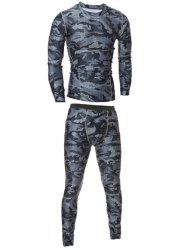 Camo T-Shirt and Elastic Waist Gym Pants Twinset - GRAY