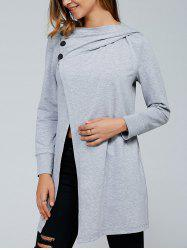 Inclined Button Front Slit Hoodie - LIGHT GRAY
