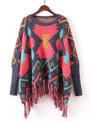 Batwing Sleeve Fringed Ribbed Sweater -