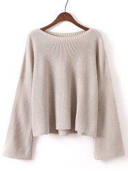 Bell Sleeves Ribbed Knitted Pullover -