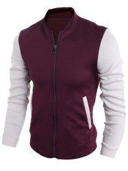 Zip Up Stand Collar Two Tone Jacket -