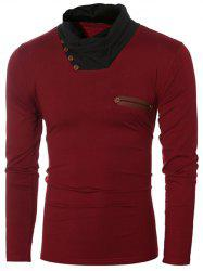 Button Embellished Cowl Collar Insert T-Shirt - WINE RED