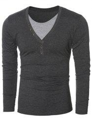 Button Embellished Round Neck Long Sleeves T-Shirt - GRAY
