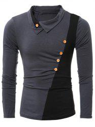 Button Embellished Turn-down Collar Insert T-Shirt - GRAY
