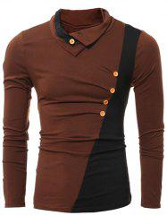 Button Embellished Turn-down Collar Insert T-Shirt - DEEP BROWN