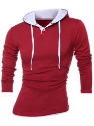 Contrast Trim Button Up Drawstring Hoodie - RED 3XL