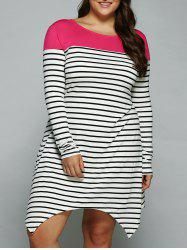 Plus Size Striped Asymmetrical Dress -