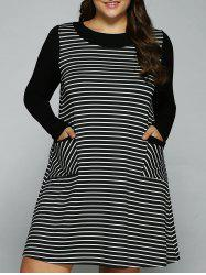 Plus Size Double Pockets Striped Dress - STRIPE XL