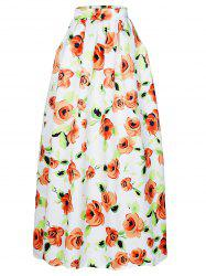 High-Waisted Floral Print Maxi Skirt -