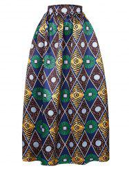 High-Waisted Geometrical Print Maxi Skirt - GREEN
