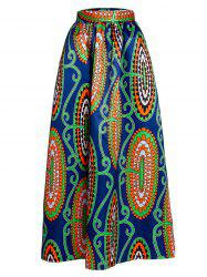 High-Waisted Abstract Print A-Line Skirt - BLUE
