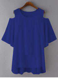 Plus Size Cut Out Layered Chiffon Blouse - ROYAL BLUE