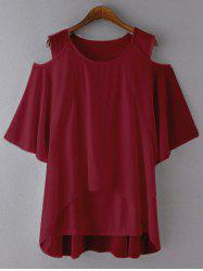 Plus Size Cut Out Layered Chiffon Blouse - DEEP RED