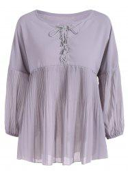 Plus Size Lace-Up Pleated Blouse -