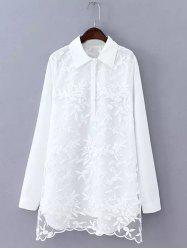 Plus Size Embroidered Long Shirt -