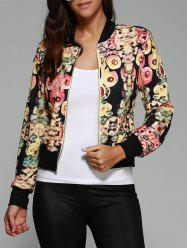 Abstract Print Zipper Design Jacket