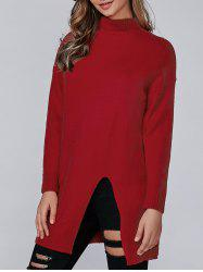 Loose Slit Long Knitwear - RED