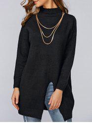 Loose Slit Long Knitwear - BLACK