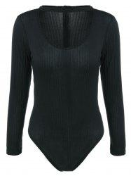Ribbed Choker Long Sleeve Bodysuit - BLACK