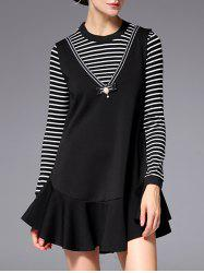 Long Sleeve Striped Mini Short Swing Dress