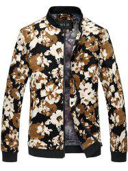 Stand Collar Floral Print Jacket - FLORAL
