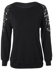 Plus Size Lace Patchwork Pullover Sweatshirt -