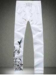 Drawstring Waist Flower and Bird Printed Pants