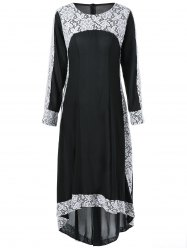 Long Sleeve Lace High Low Maxi Dress