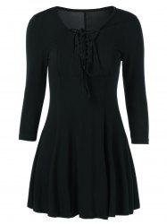 Lace Up 3/4 Sleeve Fit and Flare Dress -