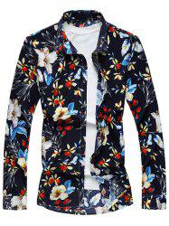Long Sleeve Floral Printed Shirt - PURPLISH BLUE