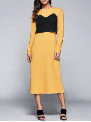 Casual Round Neck Long Sleeve Popover Dress -