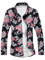 Long Sleeve Flower Printed Shirt