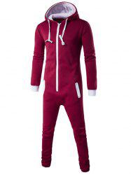 Slim-Fit Zip-Up Color Block Hooded Jumpsuit - RED XL