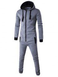 Slim-Fit Zip-Up Color Block Hooded Jumpsuit - LIGHT GRAY