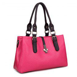 Braided Buckle Strap ToteBag - ROSE RED