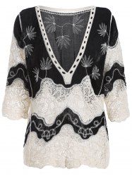 Guipure Bell Sleeves Crochet Blouse - BLACK