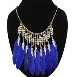 Statement Feather Leaf Beads Pendant Necklace -