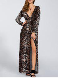 Leopard Print Long Sleeve Slit Dress