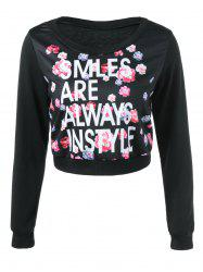 Graphic Floral Print Cropped Sweatshirt -