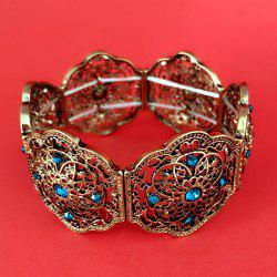 Vintage Rhinestone Hollow Out Floral Pattern Bracelet - GOLDEN